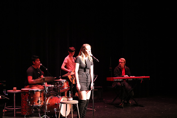 Student+musicians+perform+in+front+of+the+Upper+School+during+Music+Day.+The+event+is+a+way+for+musically+talented+members+of+the+student+body+to+show+their+skills.