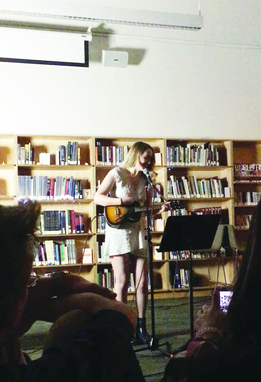 Senior Avalon Hester performs at Coffee House on March 14. Coffee House provided a venue for the UPrep community to come together to experience the creative talents of others.