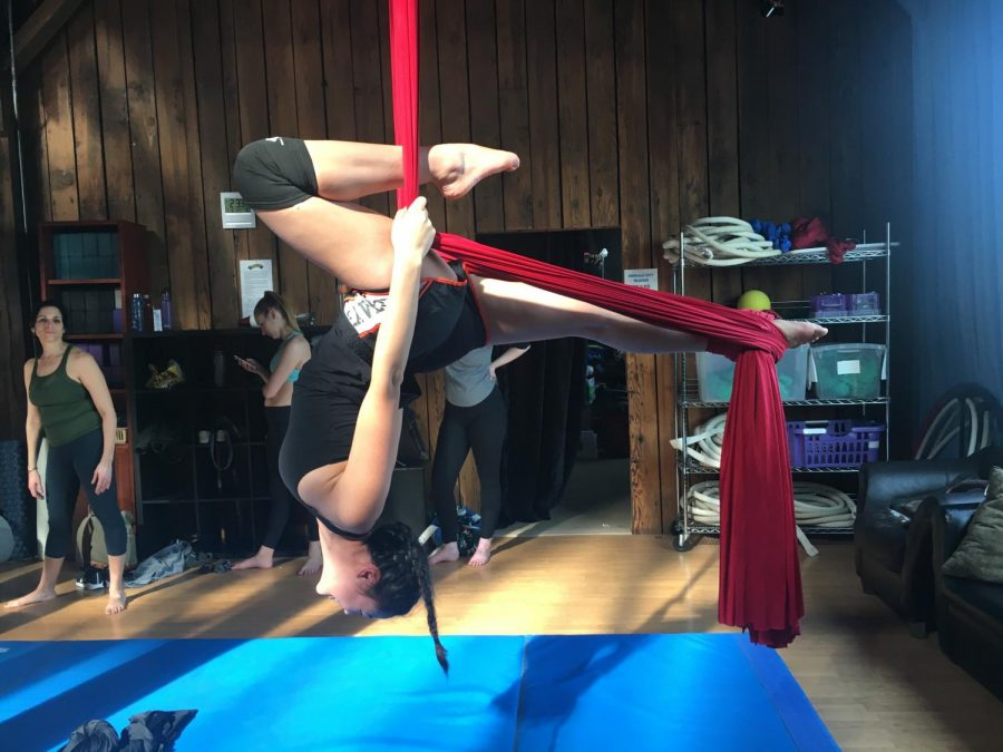 As part of my adventure at Emerald City Trapeze, I tried upside-down swan. If you like acrobatics and want to have upper-body strength, aerial silks is for you.