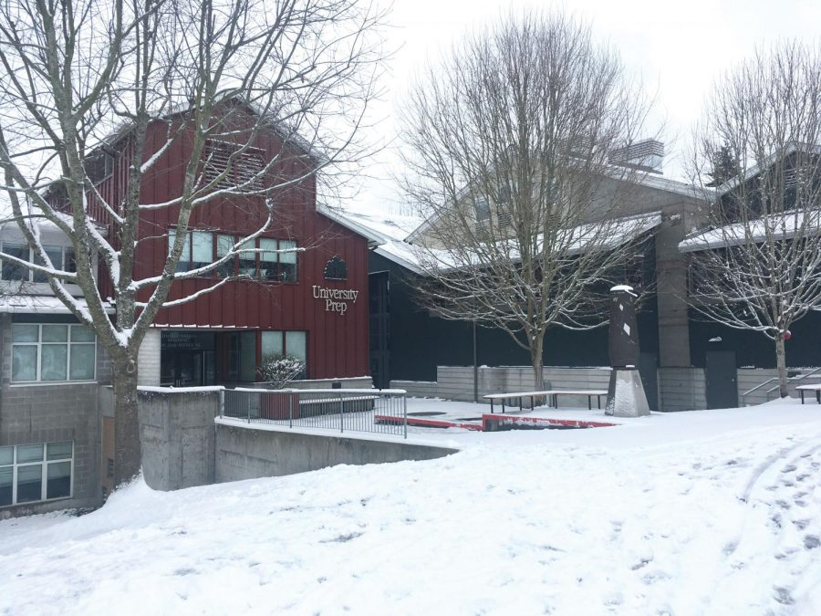 The University Prep campus and main building remained covered in snow during the six-day break students recieved due to snow-closures. The snow caused anxiety in UPrep students as work continued to add  up.
