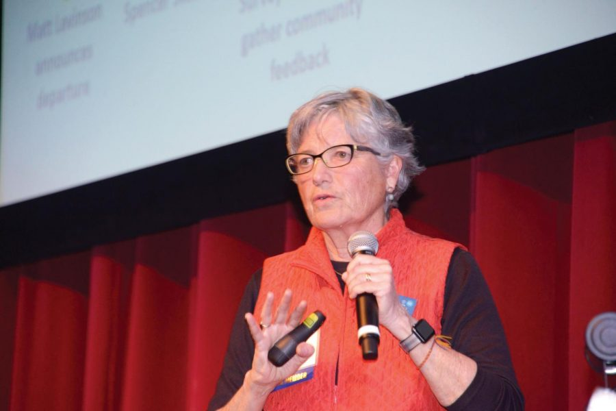 Paul Dudley Board of Trustees president and ex officio Head Search Committee member Cheryl Scott updates UPrep families on the head of school search at the Jan. 30 State of the School.