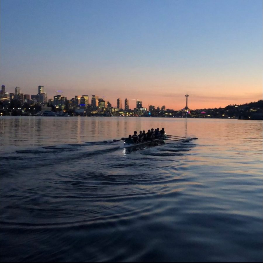Freshman Mia Predmore rows with her crew team from Pocock Rowing Center on Lake Union.
