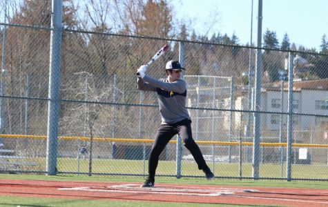 Senior Ben Rothman prepares to swing during batting practice. Before the statewide shelter-in-place order, the baseball team held daily informal captain's practices to remain ready for any shot at a season.