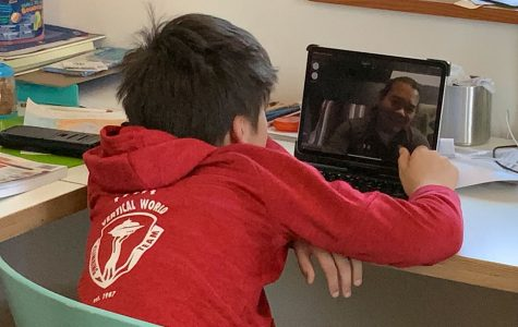Sixth-grader Colin Harrison watches his teacher speak as he learns online through Zoom.
