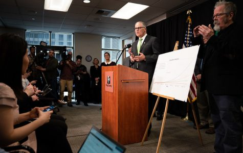 Governor Jay Inslee speaks in King County about COVID-19. In an April announcement, Inslee closed state schools through the end of the school year.