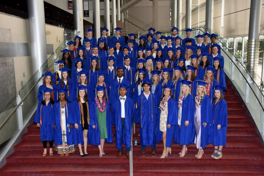 The Class of 2019 poses for a photo at their graduation last June. Traditionally, the outgoing senior class graduates in a June ceremony at McCaw Hall.