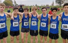 The male runners for UPrep's cross country team pose for a photo at last year's state championship. Senior Henry Buscher is seen on the far left of the group, with the number 385.