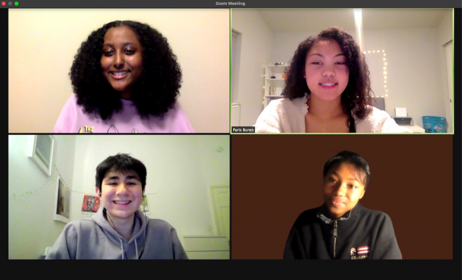 POC3 hosted their second Zoom episode on Thursday, Feb. 18. Hadush, Buren, and Alobaidi invited SAAS sophomore Erin Howard (bottom right) to speak.