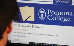Senior Wally Bargeron checking his Pomona College acceptance Status.