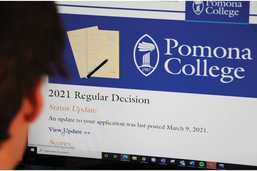 Senior Wally Bargeron checking his Pomona College acceptance Status.