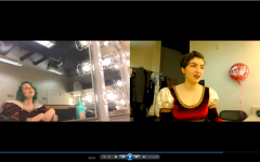 Bergstrom and Adams perform The Shrew Must Go On from As She Likes It on Zoom in the dressing rooms at school. The scene is between Kate from Shakespeare's The Taming of the Shrew and an actress playing her in a modern rendition of the play.