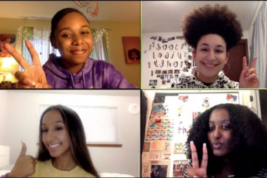 Four of the UPrep BSU leaders posing for a Zoom meeting picture.