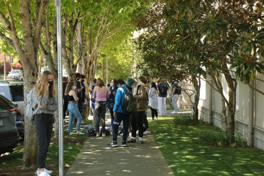 Students line up outside of Founders Hall to purchase lunch. The increased student population on campus required lunch protocols to be changed to prevent congestion in hallways.