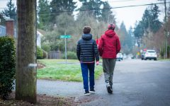 8th grader Carter Headstrom walks and talks with his Friendship Circle buddy, Max. Carter has been a reliable volunteer as he hangs out and talks on the phone with his buddy frequently.