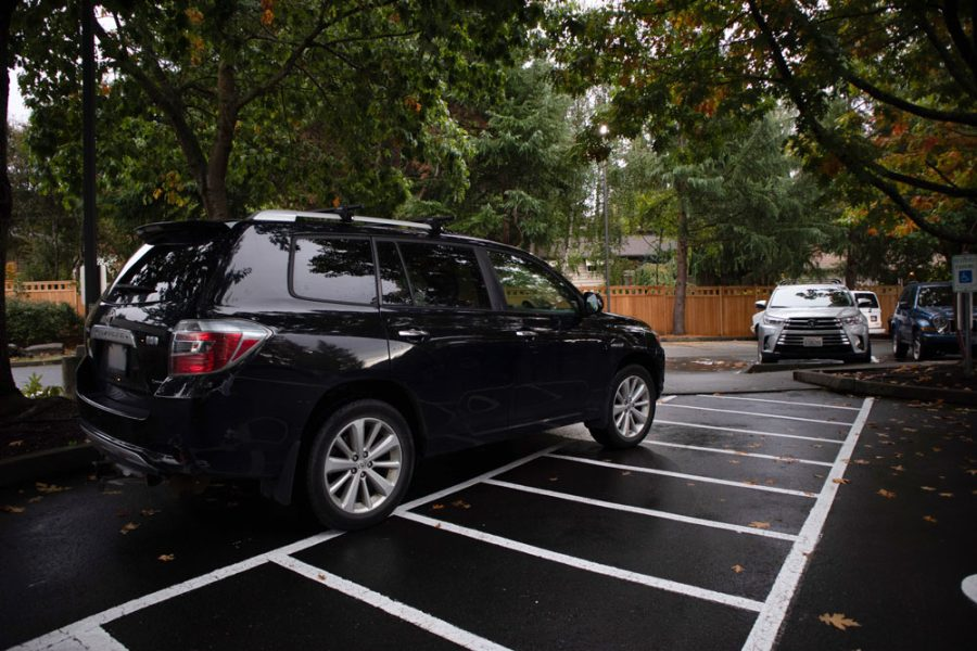 University Prep student parks over the lines.