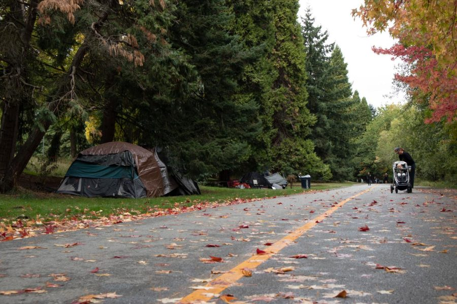 Dozens of tents lie between lower Woodland Park and Green Lake Way.